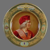 Vintage 1905 Vienna Art Plate - Knights of Columbus Lithographed Tin