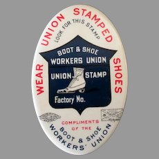 Vintage Celluloid Advertising Pocket Mirror - Boot & Shoe Worker's Union