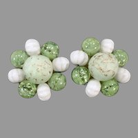 Vintage W. Germany Costume Jewelry Clip Earrings - Assorted Bead Clusters - Spring Green
