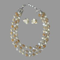 Vintage Costume Jewelry - Bead Necklace & Earrings - Summer Lemonade Yellow