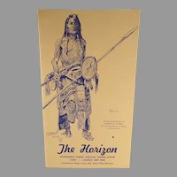 Vintage Montana's Horizon Restaurant Menu with Charles Russell Sioux Indian Sketch - Buffalo Hunter