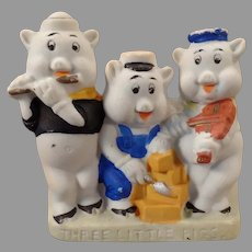 Vintage Disney Three Little Pigs Toothbrush Holder – Painted Bisque