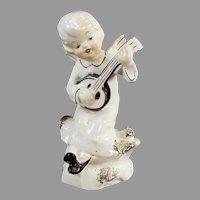 Vintage Angel Playing a Banjo-Like Instrument Porcelain Figurine