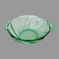 Vintage Heisey Glassware #1252 Twist Pattern Nut or Candy Dish in Green Moongleam