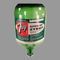 Vintage Seven-Up Syrup Jug - 7-Up Soda Fountain, Green Glass Dispensing Bottle