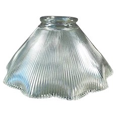 "Single 2 1/4"" Vintage Light Shade - Close Ribbed Pattern"
