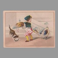 Vintage Advertising Trade Card - Moffitt's Restaurant Comical Boy, Cat and Goose Scene