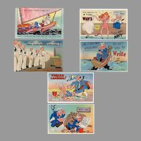 Six (6) Humorous Vintage Postcards – Colorful Navy Spoofs - Unused