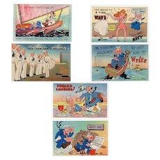 Six (6) Humorous Vintage Postcards – Colorful Navy Spoofs - Unused