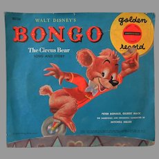 Child's Vintage Golden Record - Disney's Bongo the Circus Bear Song & Story