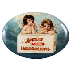 Vintage Celluloid Advertising Pocket Mirror - Angelus Marshmallows with Two Little Angels