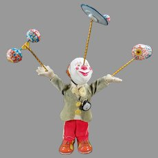 Vintage Juggling Clown Wind Up Japanese Tin and Composition W-up Action Toy