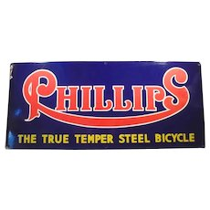 Large, Colorful Vintage Porcelain Advertising Sign - Phillips Steel Bicycles