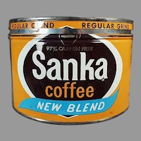 Vintage Coffee Tin - Maxwell House Sanka 1# Key Wind