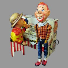 Vintage Howdy Doody Unique Art Piano Tin Wind Up Toy
