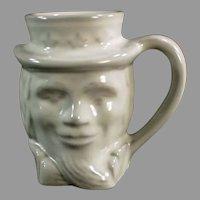 Vintage Frankoma Pottery Mug - Uncle Sam Coffee Cup - White Glaze