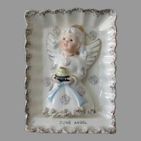 Vintage June Birthday Angel – Angel with Birthday Cake - Ries Wall Plaque