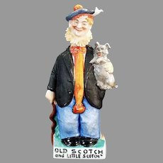 """Vintage Schafer & Vater """"Old Scotch and Little Scotch"""" Man and Dog Whiskey Flask"""