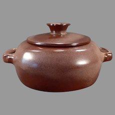Vintage Frankoma Pottery Casserole with Lid – Plainsman 5V Pattern with Brown Glaze