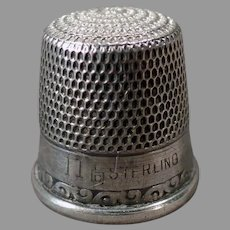 Vintage Size 11 Sterling Silver Sewing Thimble - Simple Scroll Design