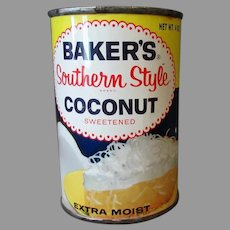 Vintage Baker's Southern Style Coconut Tin – Colorful, Old Unopened Advertising Tin