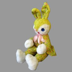 Vintage Yellow Plush Stuffed Bunny Rabbit with Springtime Print Body and Easter Outfit
