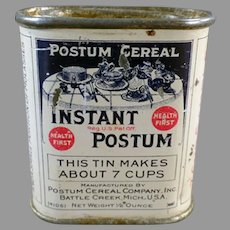 "Vintage Sample Tin -  Instant Postum Cereal, 7 Cup Sample Only 2"" High"