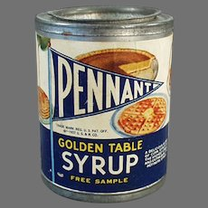 Vintage 1937 Sample Tin - Pennant Golden Table Syrup, Yummy Food & Baby Graphics