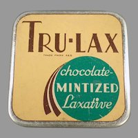 Vintage Laxative Tin -  Tru-Lax Chocolate Mintized Medicine Tin