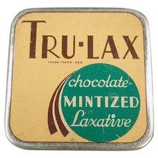 Vintage Laxative Tin -  Tru-Lax Chocolate Mintized Medicine Tin