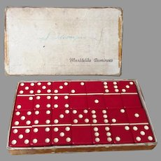 Vintage Set of Cherry Red #616 Puremco Marblelike Dominoes with Original Box