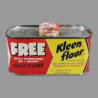 Vintage Advertising Tin - Johnson's Wax Kleen Floor  1930's - 1950's