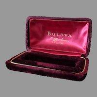 Vintage Bulova Wrist Watch Display Box – Rich Burgundy Velvet Like Fabric