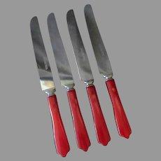 4 Vintage Cherry Red Bakelite Handled Stainless Steel Dinner Knives Deco Kitchen Utensils
