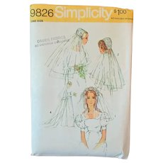 Vintage #9826 Simplicity Pattern – Bridal Headpieces and Veils - 1971