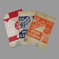 Three (3) Different, Unused Vintage Popcorn Boxes – Fun Advertising