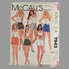 Vintage 1982 McCall's #7943 Short Shorts Pattern - Miss Size 8