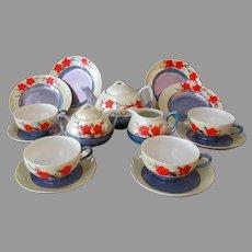 Child's Vintage Tea Set, Service for Four  - Lustre Finish with Orange Flowers