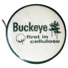 Vintage Celluloid Advertising Tape Measure - Buckeye Cellulose