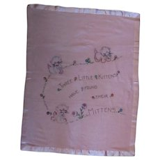 Vintage Baby Blanket with Hand Embroidered 3 Little Kittens with Mittens