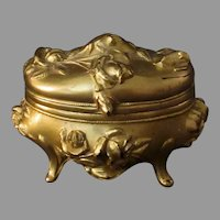 Vintage Casket Style Jewelry Box with Floral Rose Design – Gold Gilded