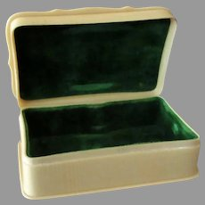 Vintage French Style Ivory Celluloid Dresser Box with Hinged Lid and Velvet Insert