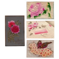 Four (4) Vintage Floral Postcards with Pretty Embossed Designs
