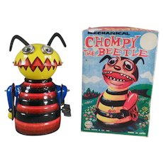 Vintage Marx Wind-Up Toy - Tin Chompy the Beetle - with Original Box