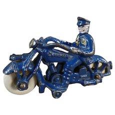 """Vintage Cast Iron 5"""" Champion Motorcycle - Original Blue Paint"""