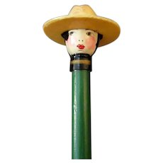 Vintage Novelty Pencil with Cute, Celluloid Doll Head