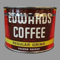 Vintage Coffee Can - Half Pound Edwards Key Wind Tin