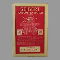 Vintage Seibert Poison Fly Paper Package with Great Graphics