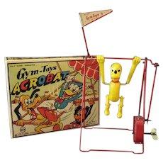 Vintage Disney Wind Up Celluloid Pluto Acrobat Toy with Original Box