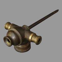 Vintage Water Sprinkler Spike – Cast Brass Head with Side Connectors